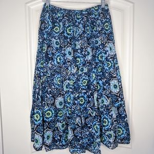 Flowy Gypsy Blue Skirt w/ Trippy Pattern